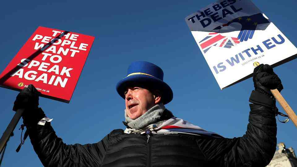 n anti-Brexit campaigner protests outside the Houses of Parliament in London. Credit: Reuters