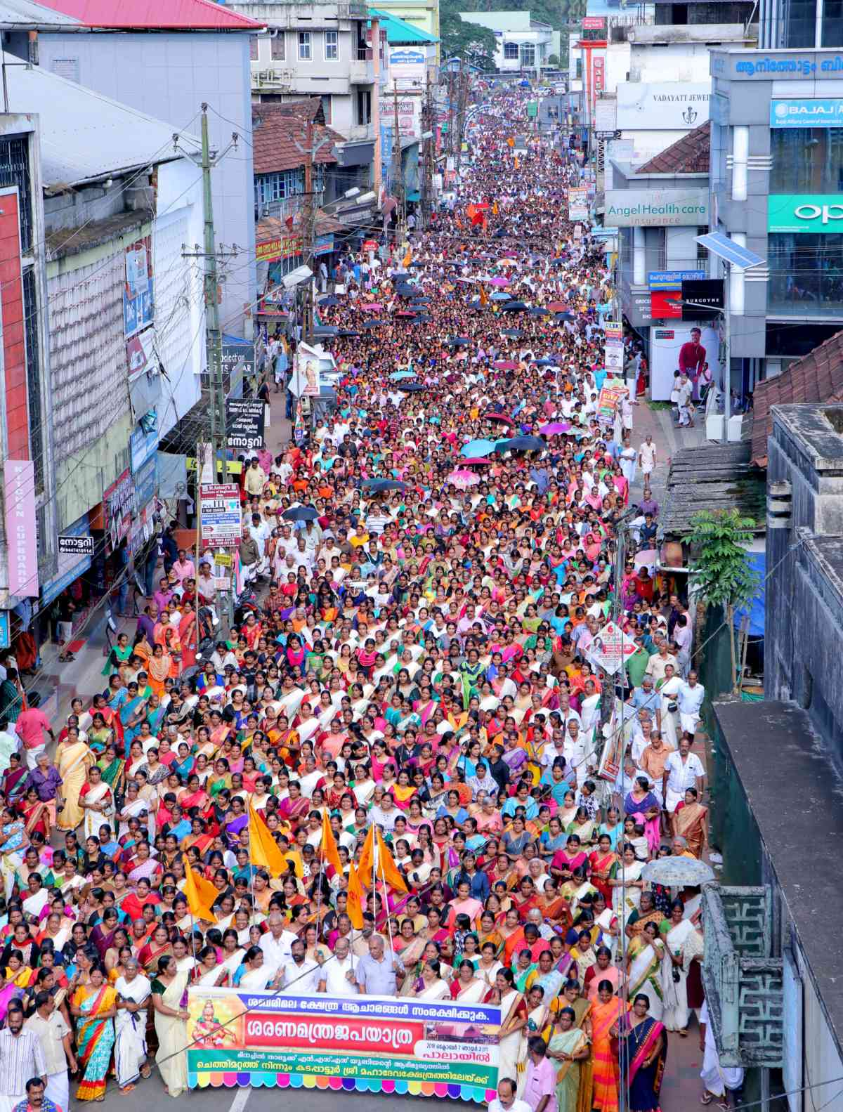 A protest march against the SC's Sabarimala verdict organised by the Nair Service Society in Pala in Kottayam district on October 7. (Photo credit: Vineeth).