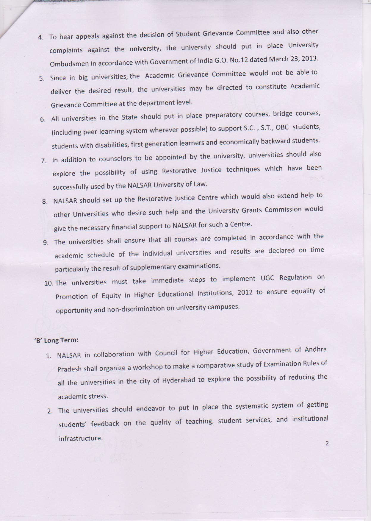 Page 2 of the recommendations accepted by the Andhra Pradesh High Court to deal with suicides