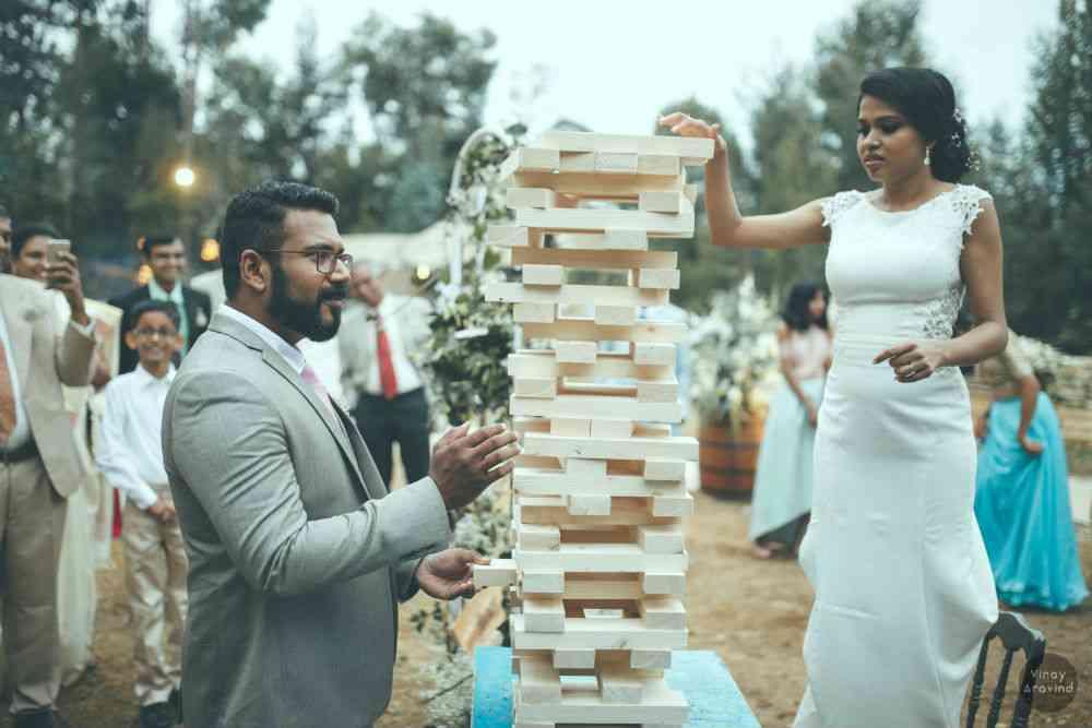 Custom-made Jenga bricks at Sangita Santhosham and Sandeep John's wedding photo shoot. Photo credit: Vinay Aravind.