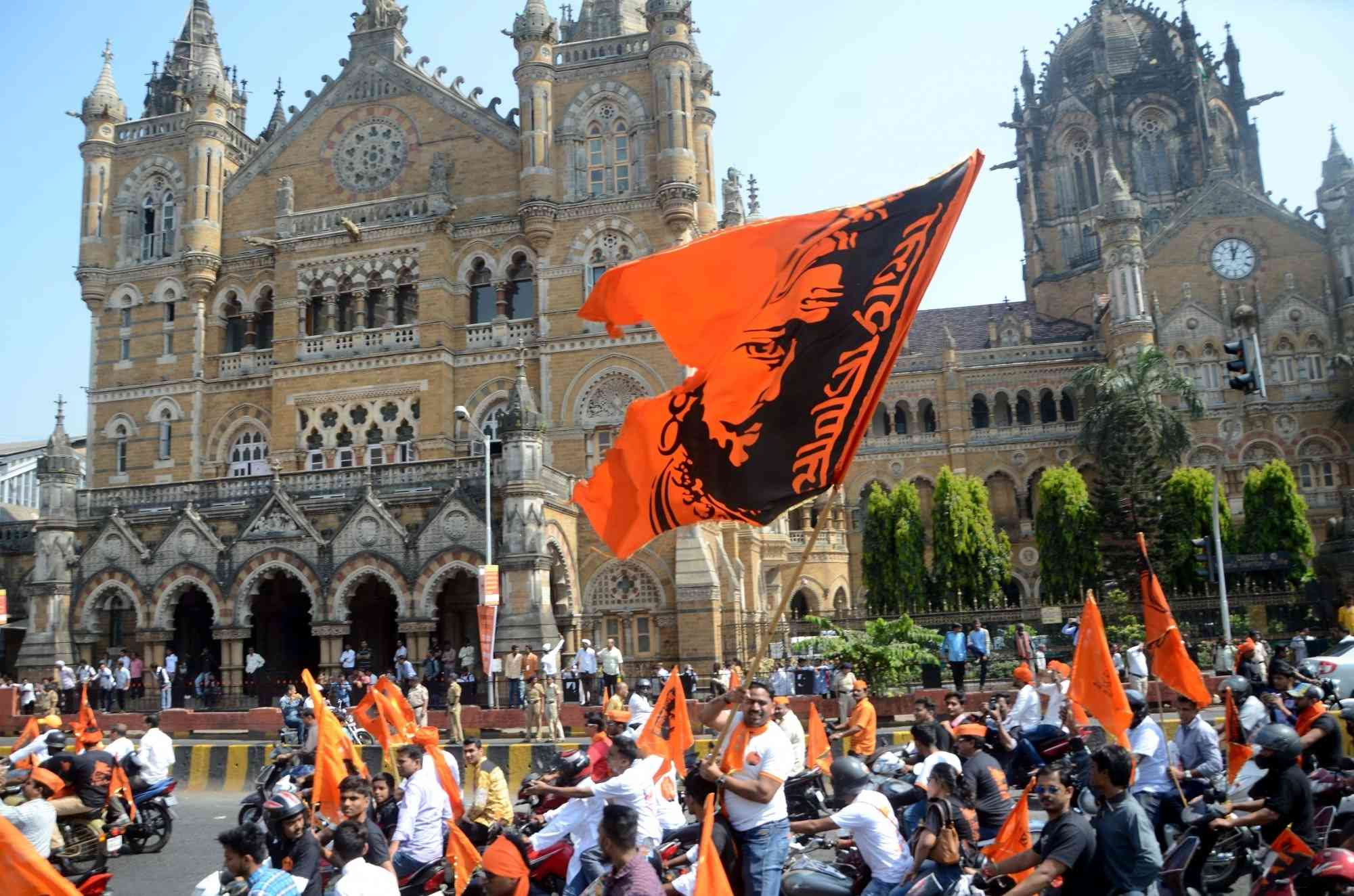 Members of Maratha Kranti Morcha participate in a bike rally to press for their demands in Mumbai on Nov 6, 2016. (Photo: IANS