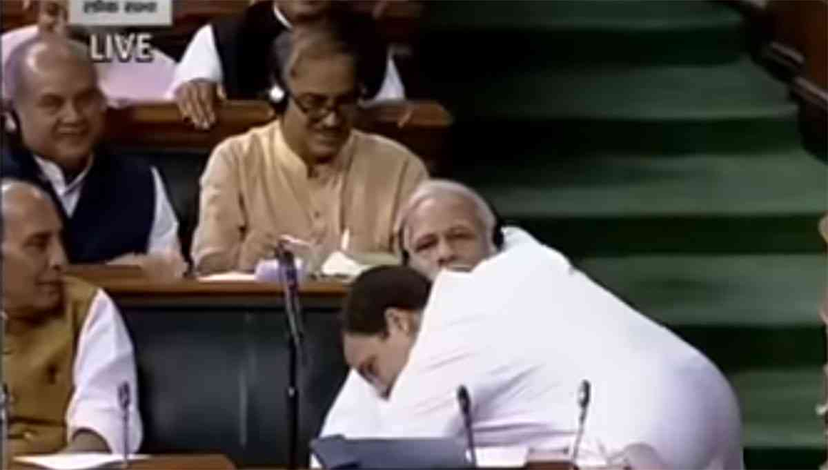 Rahul Gandhi famously hugs Prime Minister Narendra Modi in Parliament in July. (Credit: YouTube)