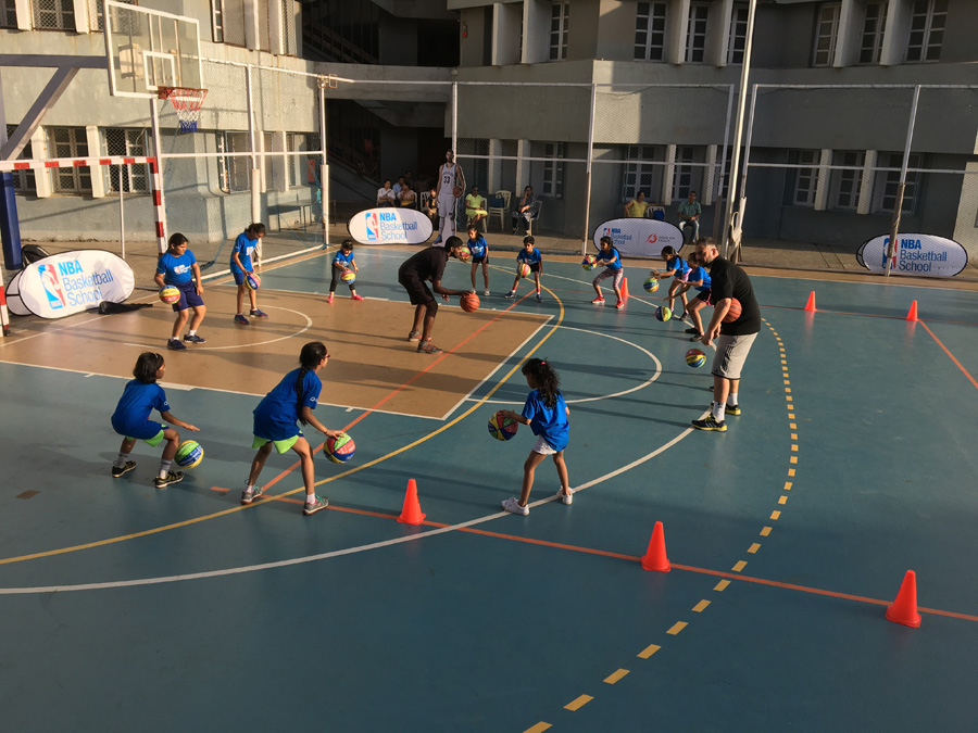 Training session underway at the NBA Basketball School in Mumbai, India. Image credit: NBA India