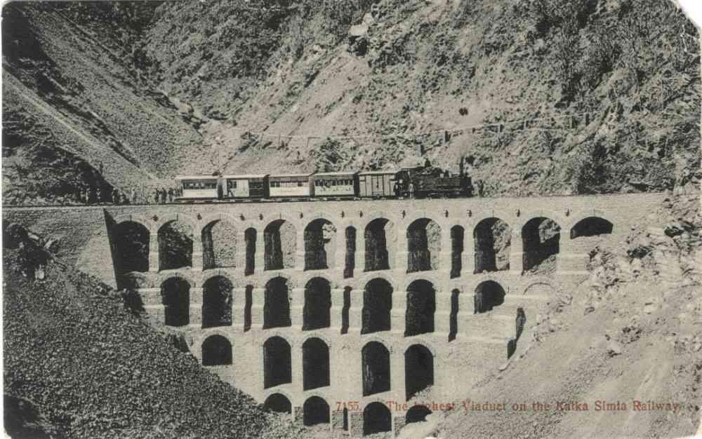 The highest viaduct on the Kalka Simla Railway. Postal usage: Simla (India) to Lincolnshire (UK), April 1909. Image courtesy: Sangeeta and Ratnesh Mathur.