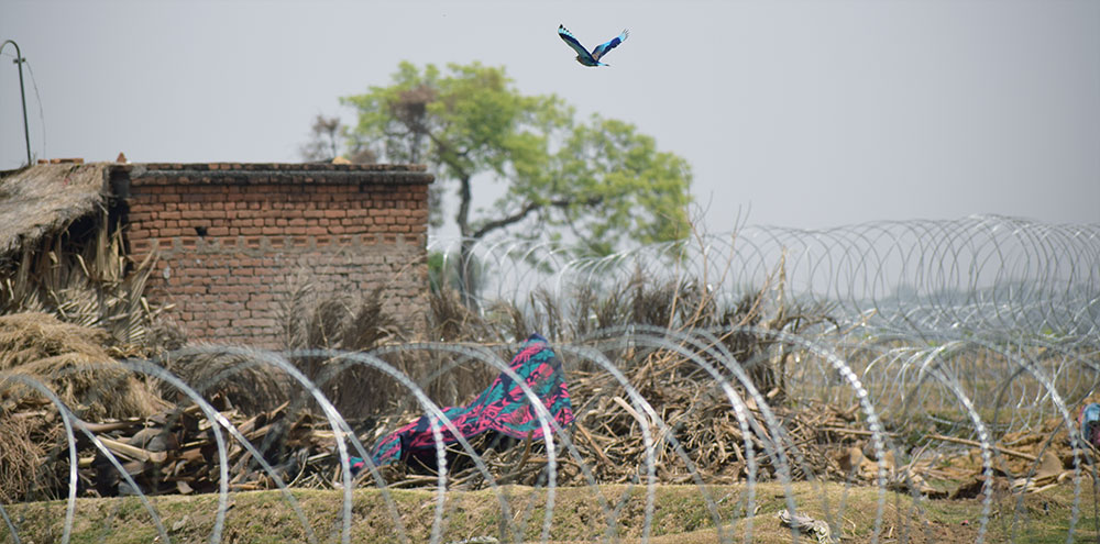 A bird flies over the fence in Motiya village, where Adani's power plant is set to be built.