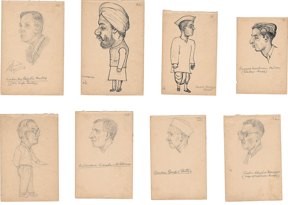 Known as one of the most important police officers of Bombay, Balchandra  Ambadas Haldipur drew several sketches of suspects, informants and witnesses while chasing Mahatma Gandhi's assassins. 1948-1949.  Sketches and narrative courtesy: Haldipur Family, Thane, Maharashtra.