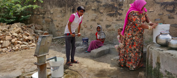 Gayatri Vishnawat, 23, from Chhota Narena in central Rajasthan's Ajmer district says filling water takes up to three hours every morning and the lives of women in most villages revolves around this task. Photo credit: Disha Shetty/IndiaSpend