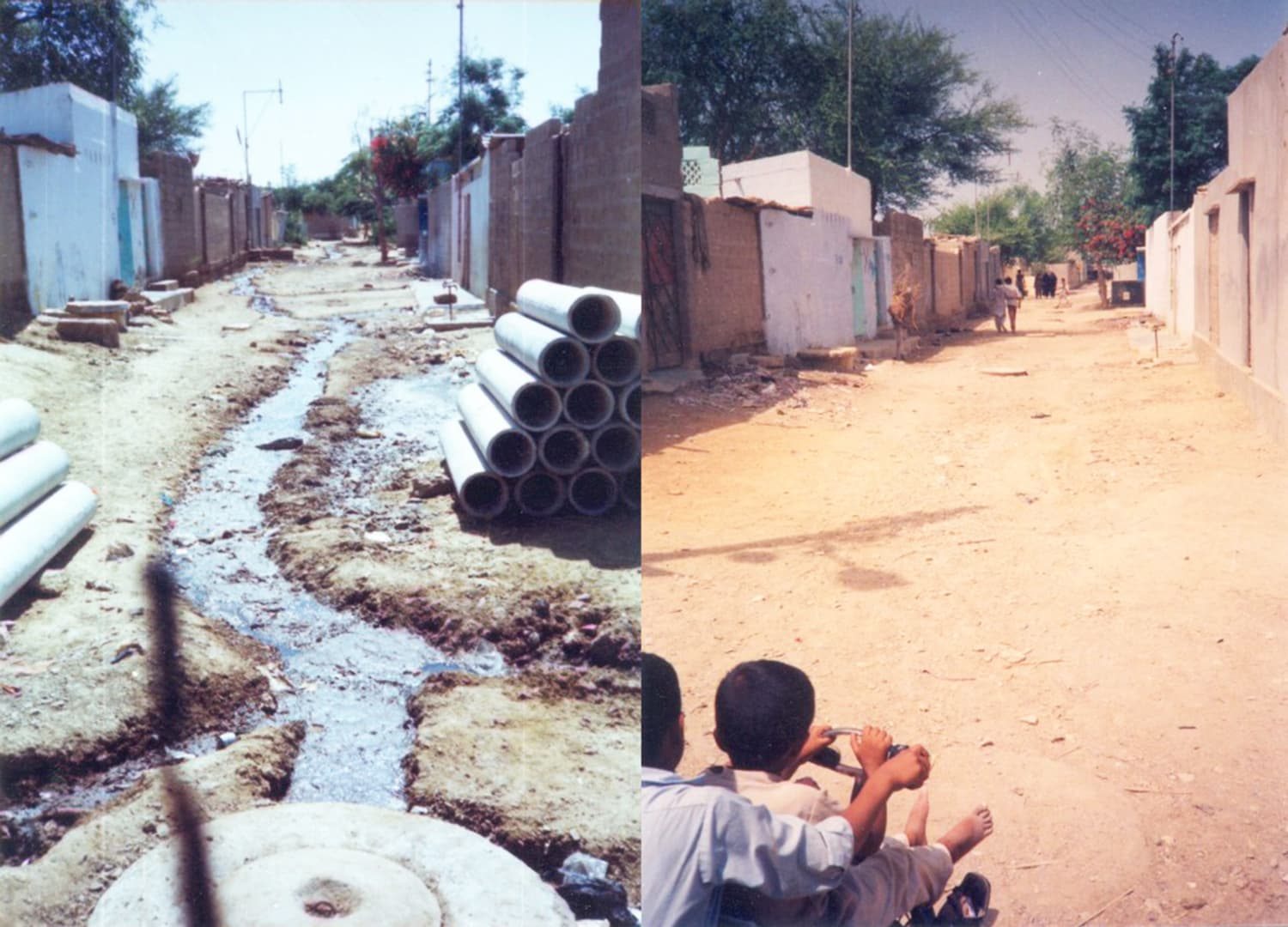 Two photos of the same street in one of Karachi's largest impoverished areas, Orangi. The pictures were taken by famous architect and sociologist Arif Hassan to demonstrate the success of the Orangi Pilot Project.