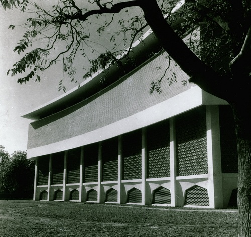 The Rabindra Bhawan at Lalit Kala Akademi. The Delhi government had plans to cover the facade of the building with glass.
