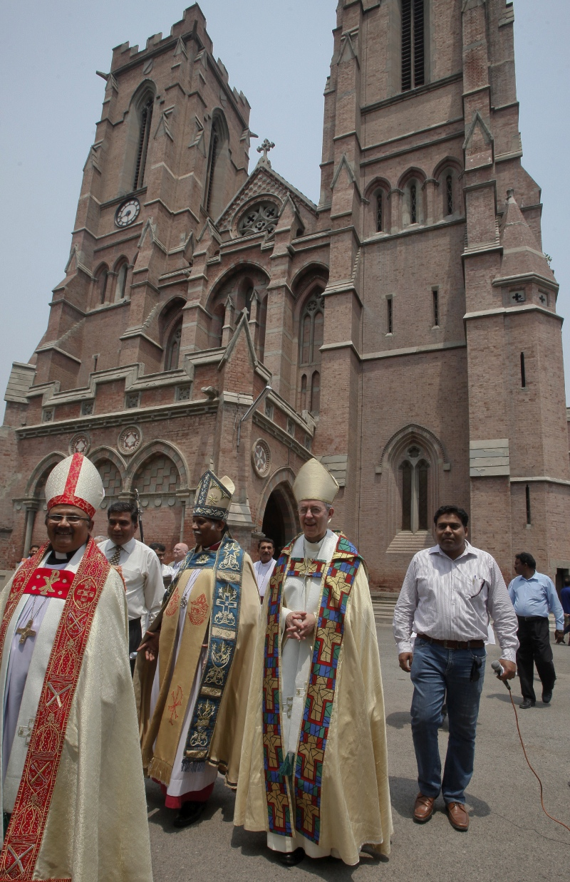 The Archbishop of Canterbury (second from right), the most senior bishop of the Church of England, and others at the Anglican cathedral in Lahore in 2014. (Photo credit: Reuters).