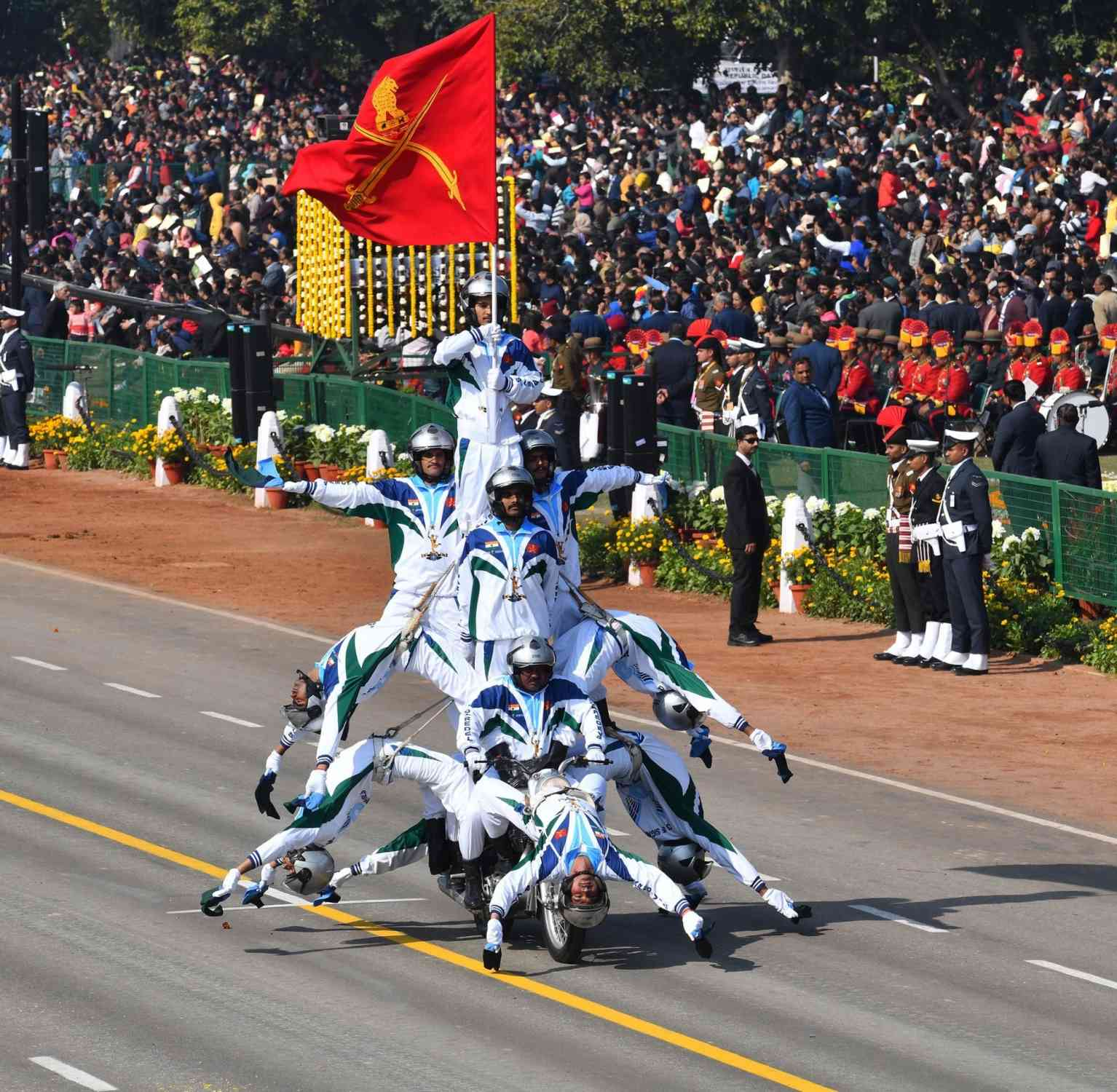 The Indian Army's 'Daredevils' motorcycle team participates in the Republic Day parade in New Delhi (Photo credit: IANS)