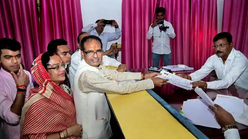 Madhya Pradesh Chief Minister Shivraj Singh Chouhan files his nomination paper in Budhni, Sehore district, on November 5. (Credit: PTI)