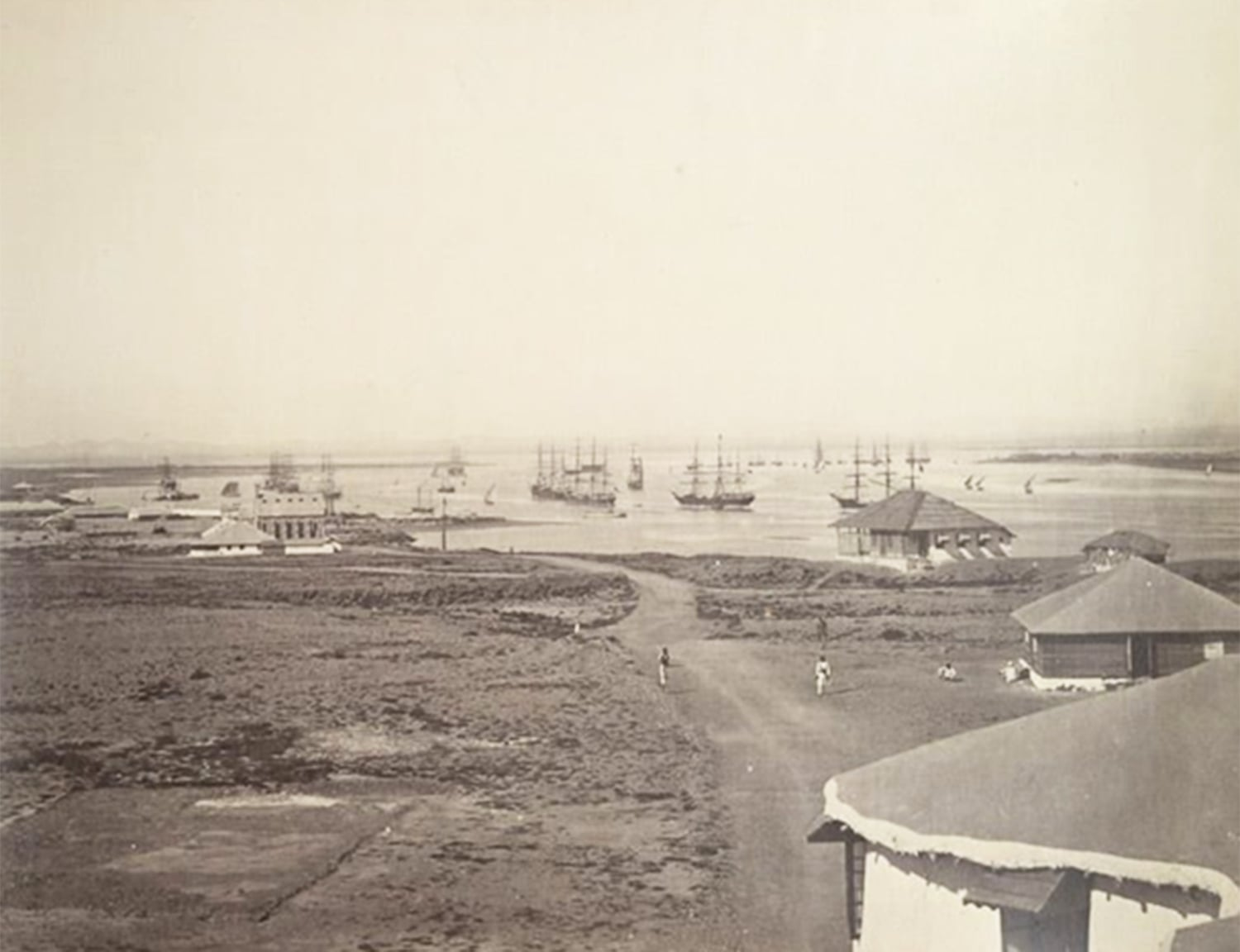 An 1860 photograph of British ships entering Karachi waters (Arabian Sea). By now the city had been made Sindh's capital and absorbed into British India.
