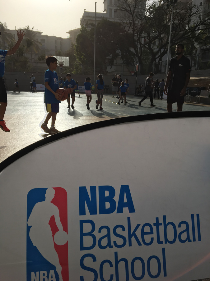 Kids in action at the launch of the first NBA Basketball School at Jamnabai Narsee School in Mumbai. Image credit: NBA India