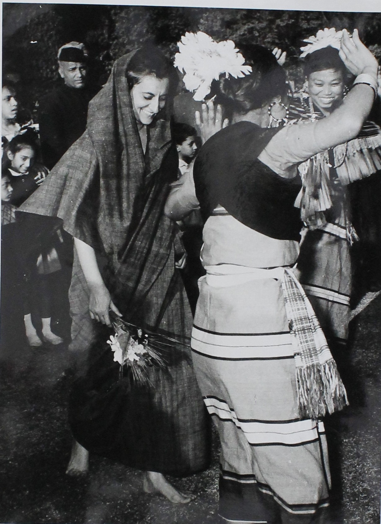 Indira Gandhi joins folk dancers from Nagaland in the Capital for Republic Day celebrations (January 31, 1966). New Delhi. Courtesy: Indira Gandhi Memorial Trust