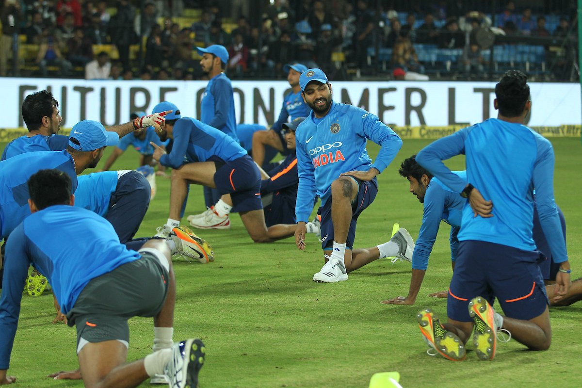 India players warm-up ahead of the second T20I in Cuttuck. Photo: BCCI