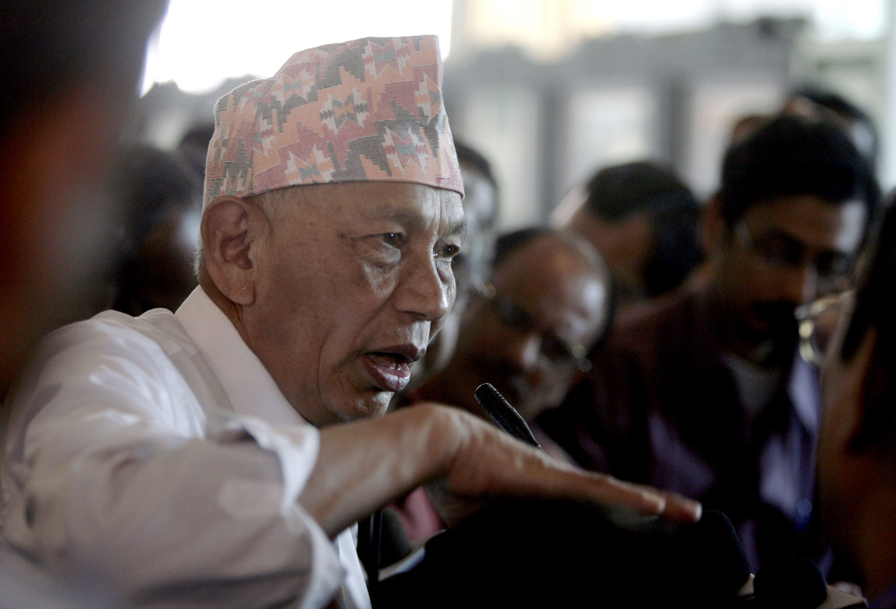 Sub hash Ghising addresses a press conference in Kolkata on February 23, 2008, at the beginning of his forced exile from Darjeeling. (Credit: Deshakalyan Chowdhury / AFP)