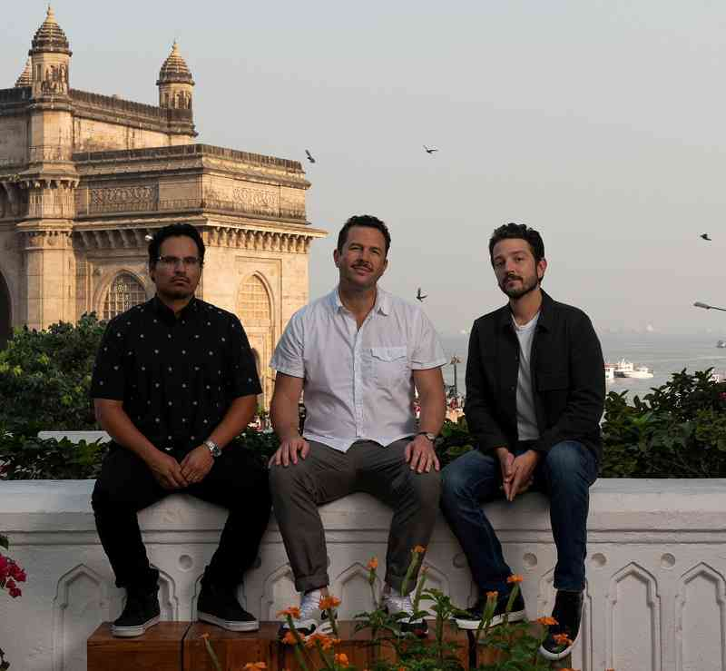 Michael Pena (left), Eric Newman and Diego Luna during their visit to Mumbai. Courtesy Netflix.