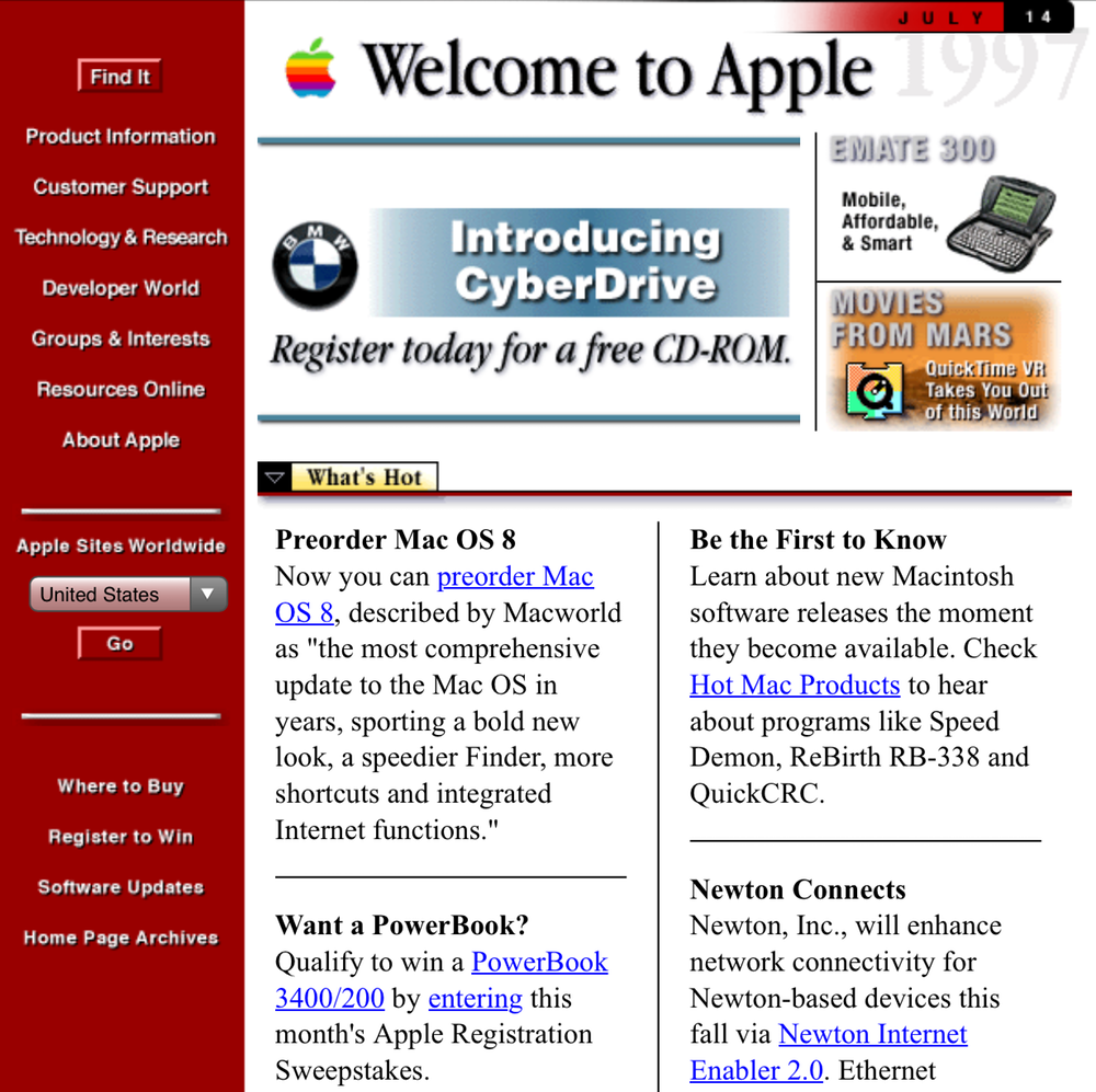 Apple's website in 1997. Photo Credit: Internet Archive
