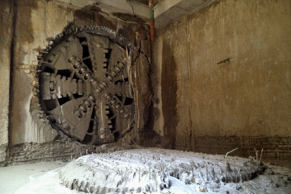 Experts say the tunnel boring machine, or mole, is designed to not displace the soil around it. Image credit: Chennai Metro Rail/Facebook