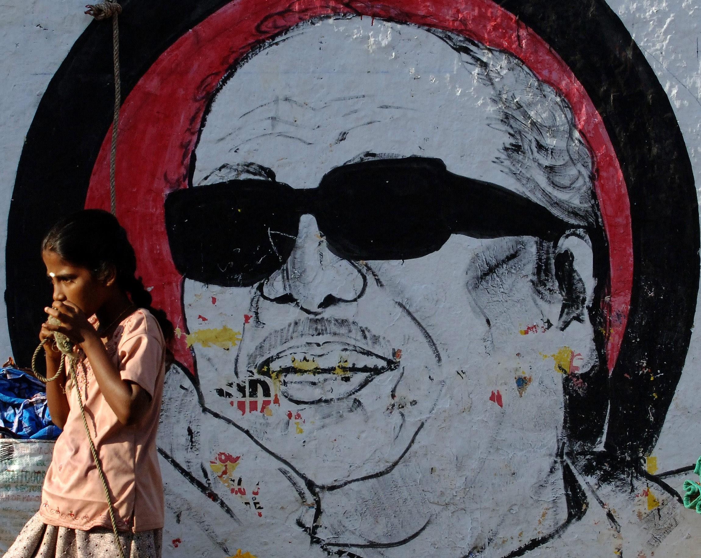 A Karunanidhi mural in Chennai. Credit: AFP