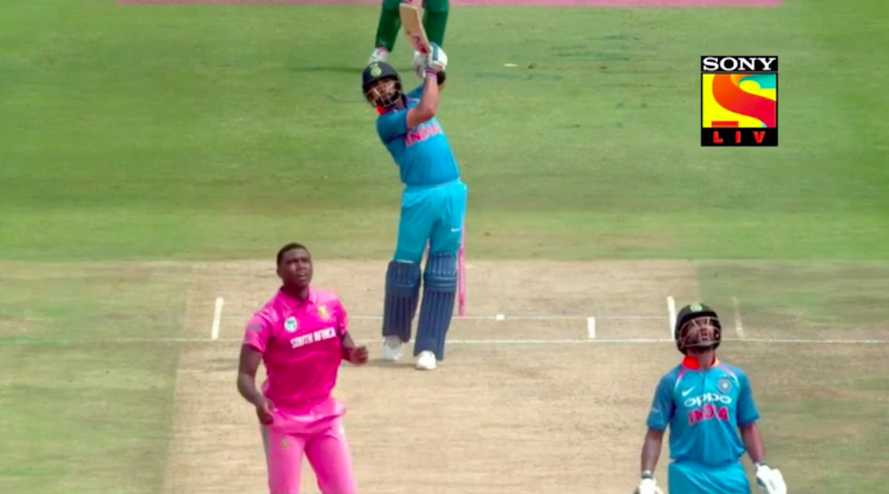 The Kohli six was perhaps the shot of the series. He even held the pose for good measure. Screenshot.