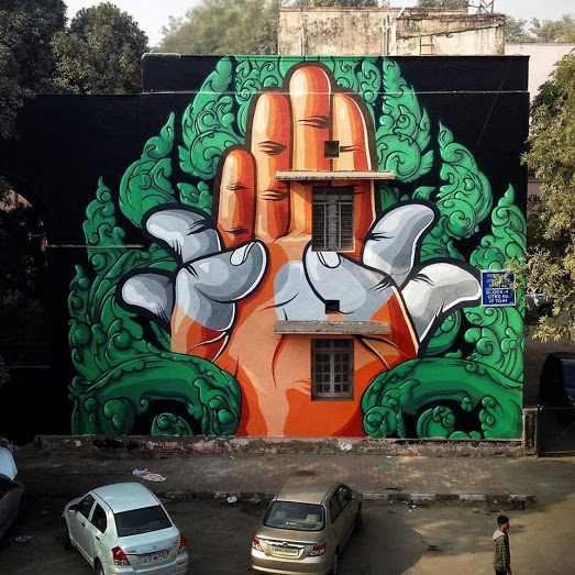 Mural by French artist Chifumi, Block 4, Lodhi Colony. (Photograph by Akshat Nauriyal).