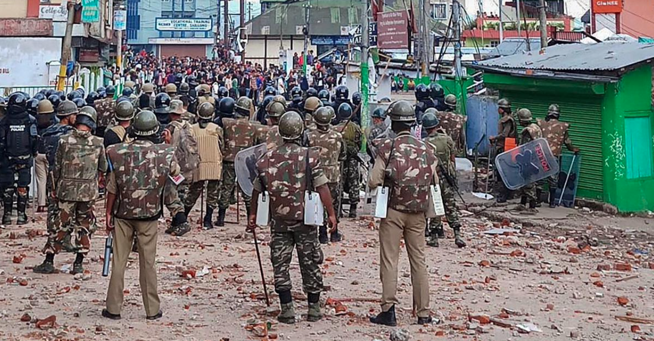 For four nights in a row starting May 31, Khasi men tried to break into the Punjabi Line and clashed with security personnel guarding the colony. (Credit: PTI)