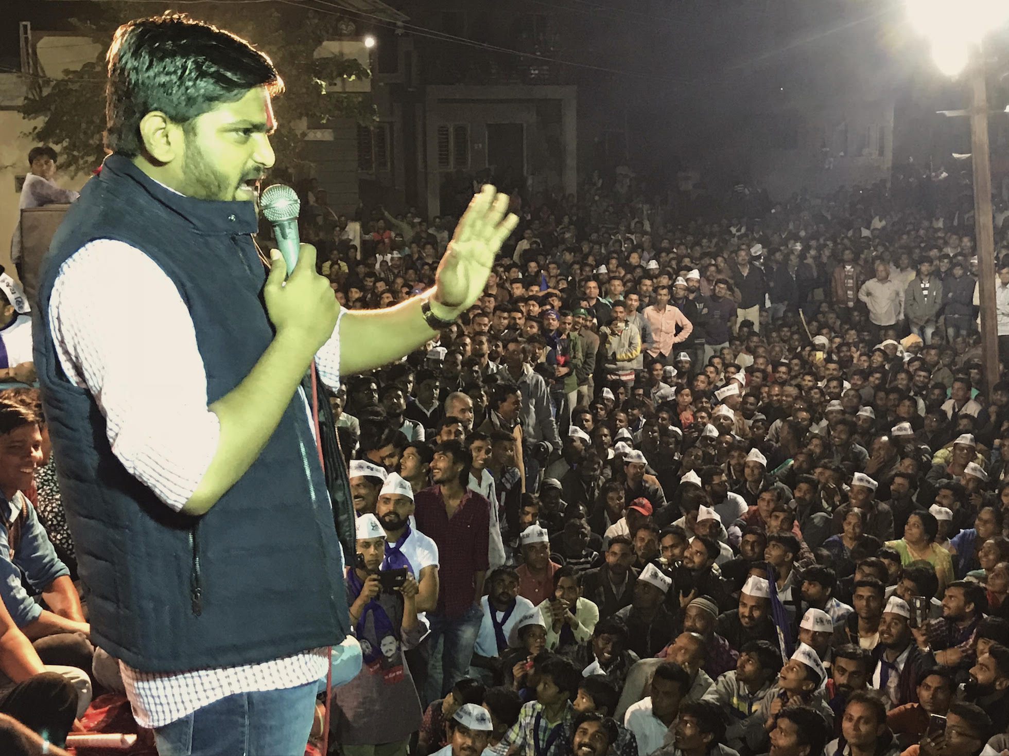 Hardik Patel addressing a gathering in Dholka in Ahmedabad district. Photo credit: Supriya Sharma
