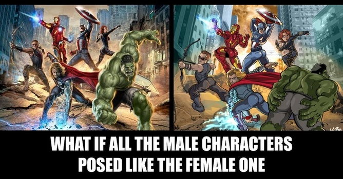 How the Avengers might look if the male gaze was also applied to them, according to The Hawkeye Initiative.