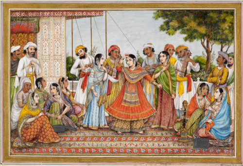 Painting of Colonel James Skinner's nautch troupe, given as a souvenir to a European visitor. Delhi, c. 1838 (BL Add.Or.2598)