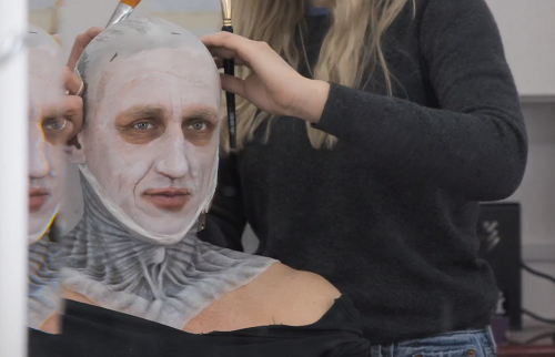 Vladimir Furdik gets ready to play the Night King. Courtesy HBO.