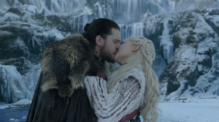 Jon Snow (Kit Harington) and Daenerys (Emilia Clarke) in Game of Thrones. Courtesy HBO.