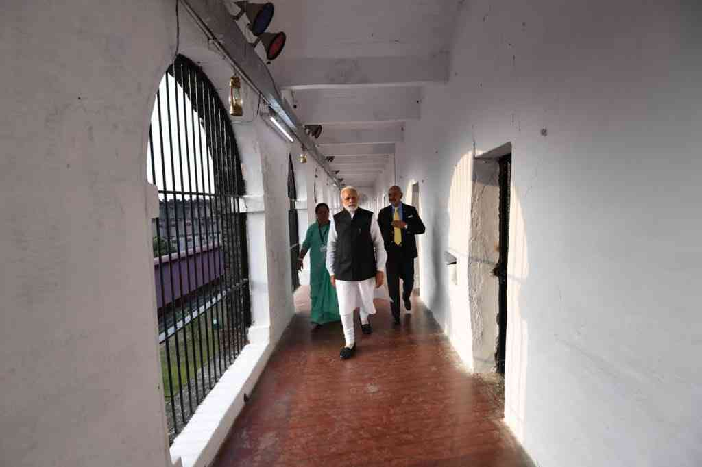 Prime Minister Narendra Modi visits the Cellular Jail in the Andaman and Nicobar Islands on December 30, 2018.