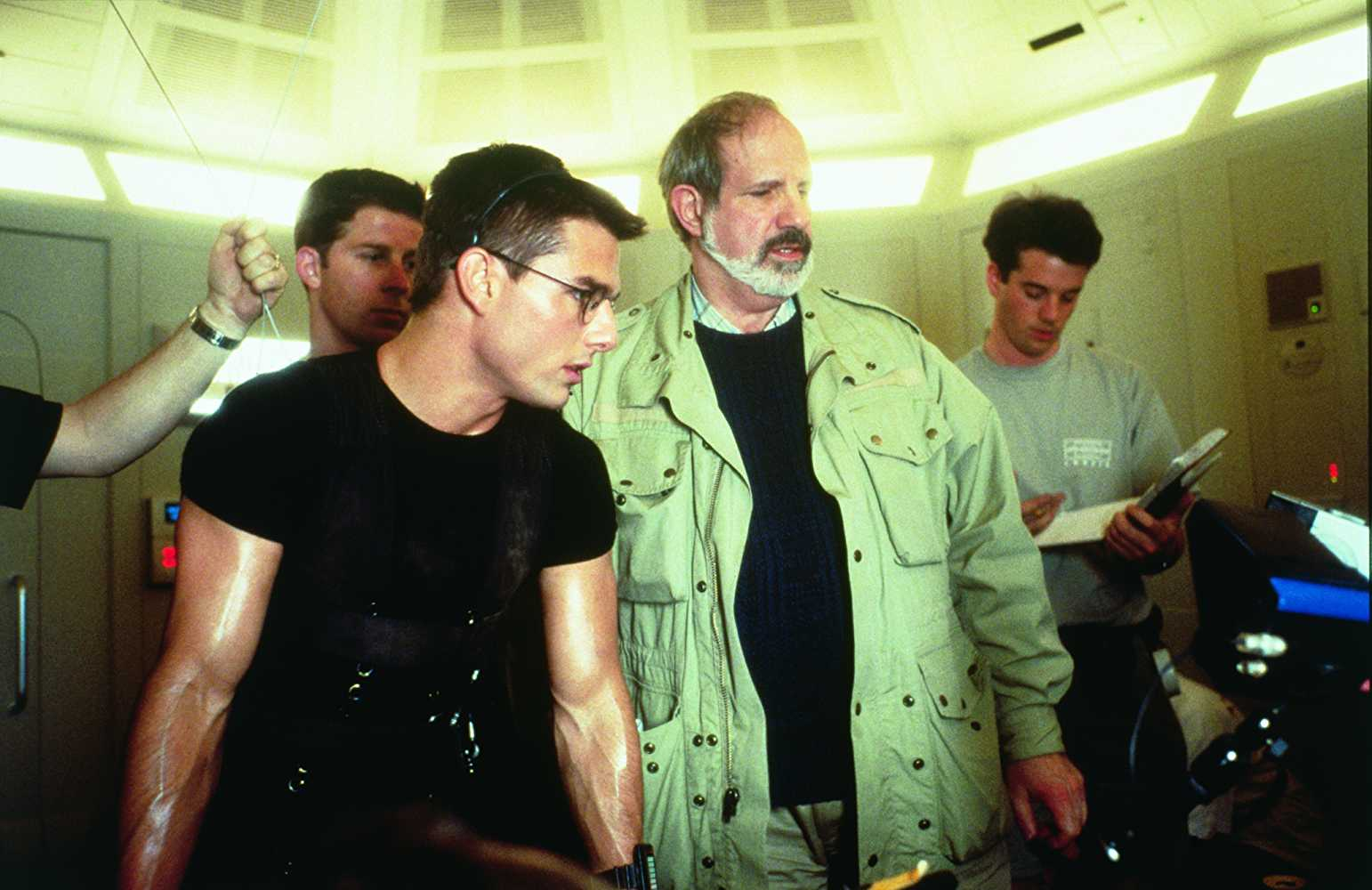 Tom Cruise and Brian De Palma on the sets of Mission: Impossible (1996). Courtesy Cruise/Wagner Productions.
