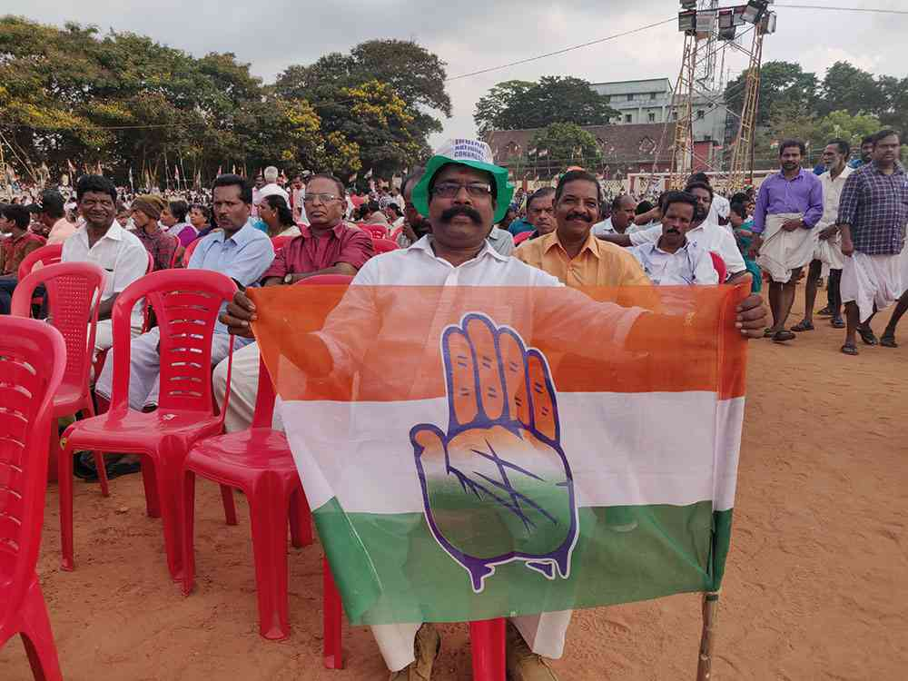 Congress worker C Vijayan says Rahul Gandhi's assurance to stand with Ayyappa devotees is a game changer. Photo credit: TA Ameerudheen