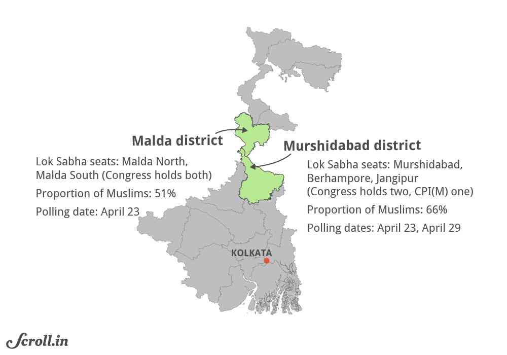 Malda and Murshidabad are bastions of the Congress in West Bengal.