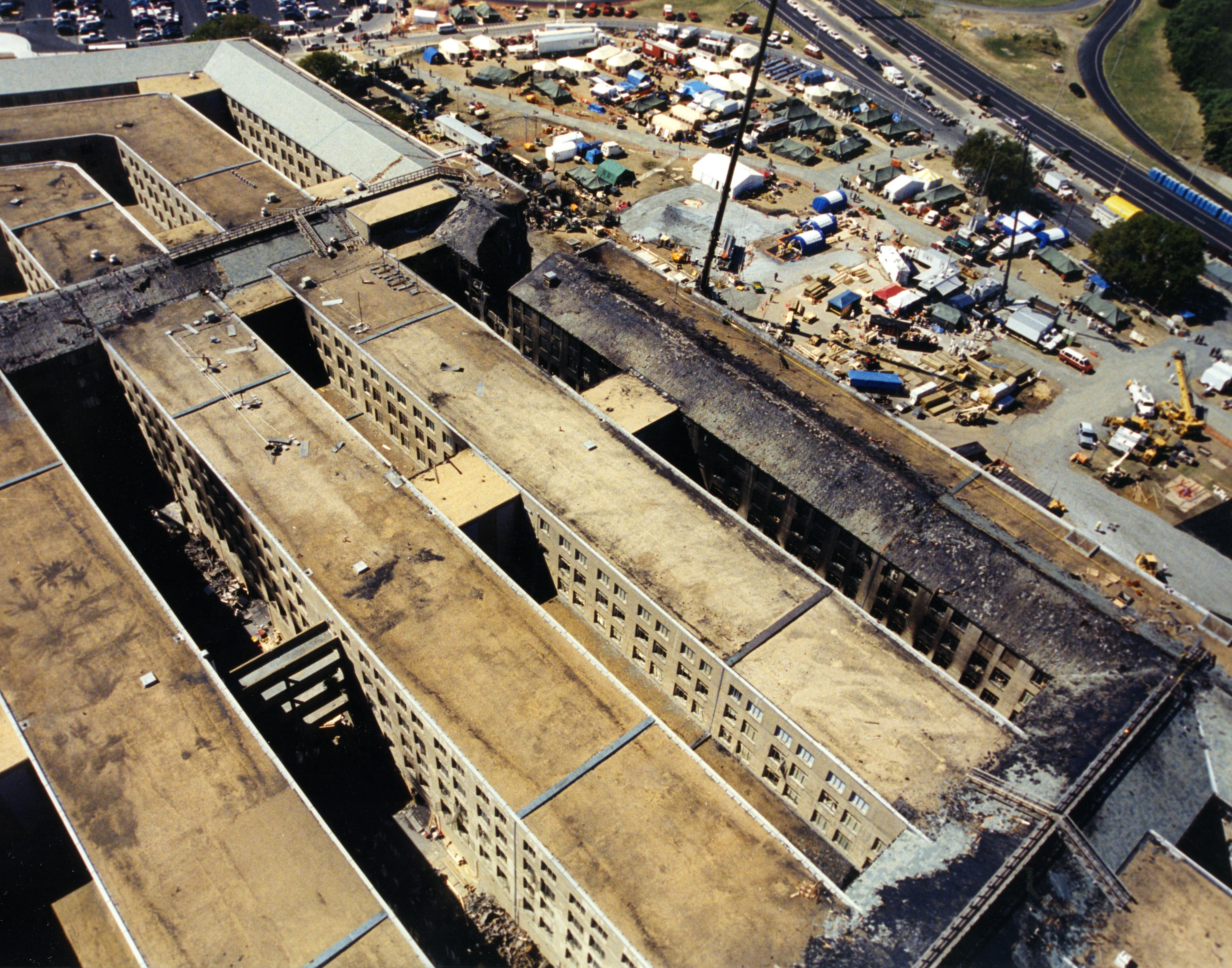 Overhead shot showing damage to the Pentagon following the attack on 9/11. (Pic: FBI)