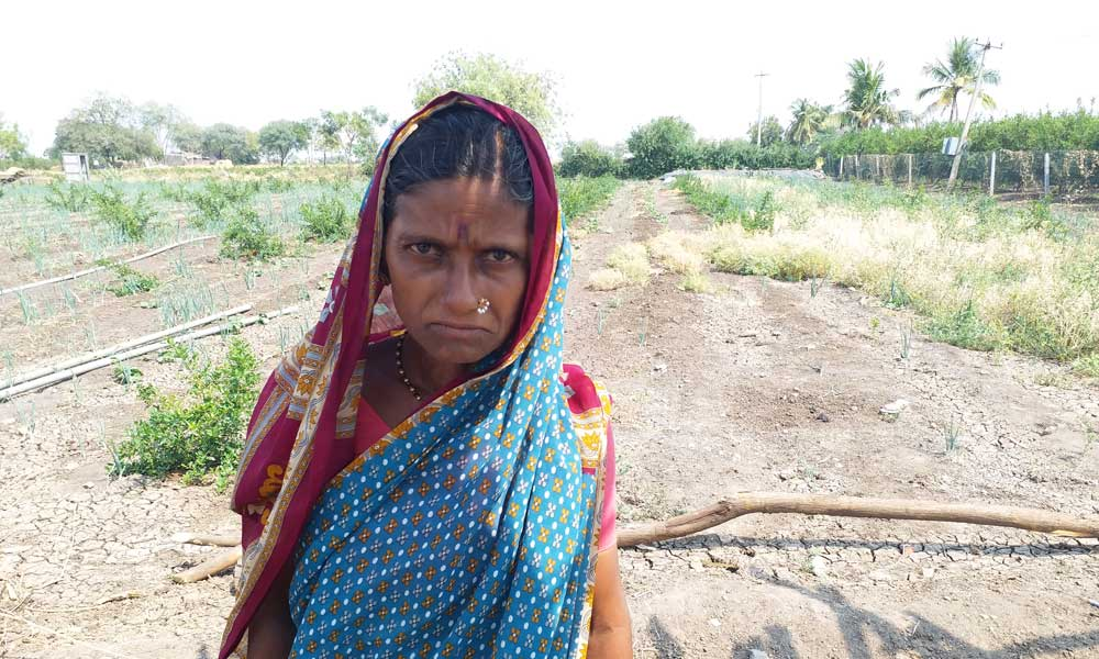 Vandana Mahadev, wife of Mahadev Kale who was killed in Uppara Hatti in Kalaburagi. Photo: Sruthisagar Yamunan