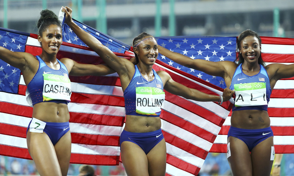 United States swept the women's 100 metre hurdles as Brianna Rollins, Nia Ali and Kristi Castlin won gold, silver and bronze respectively. Image credit: Lucy Nicholson / Reuters