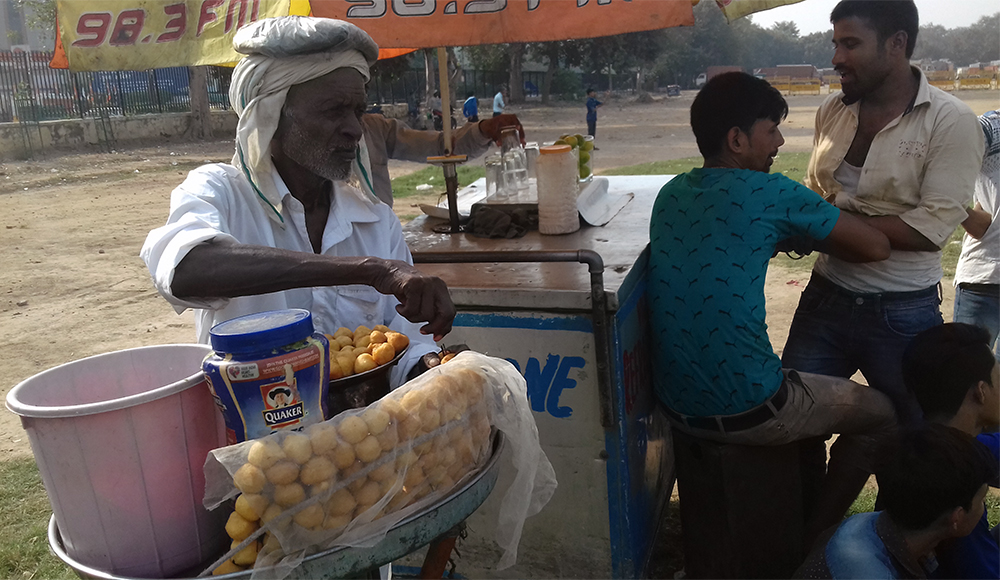 Som Pal sells pakoras at the Ramleela Ground and says he has not seen a demonstration here in several years.