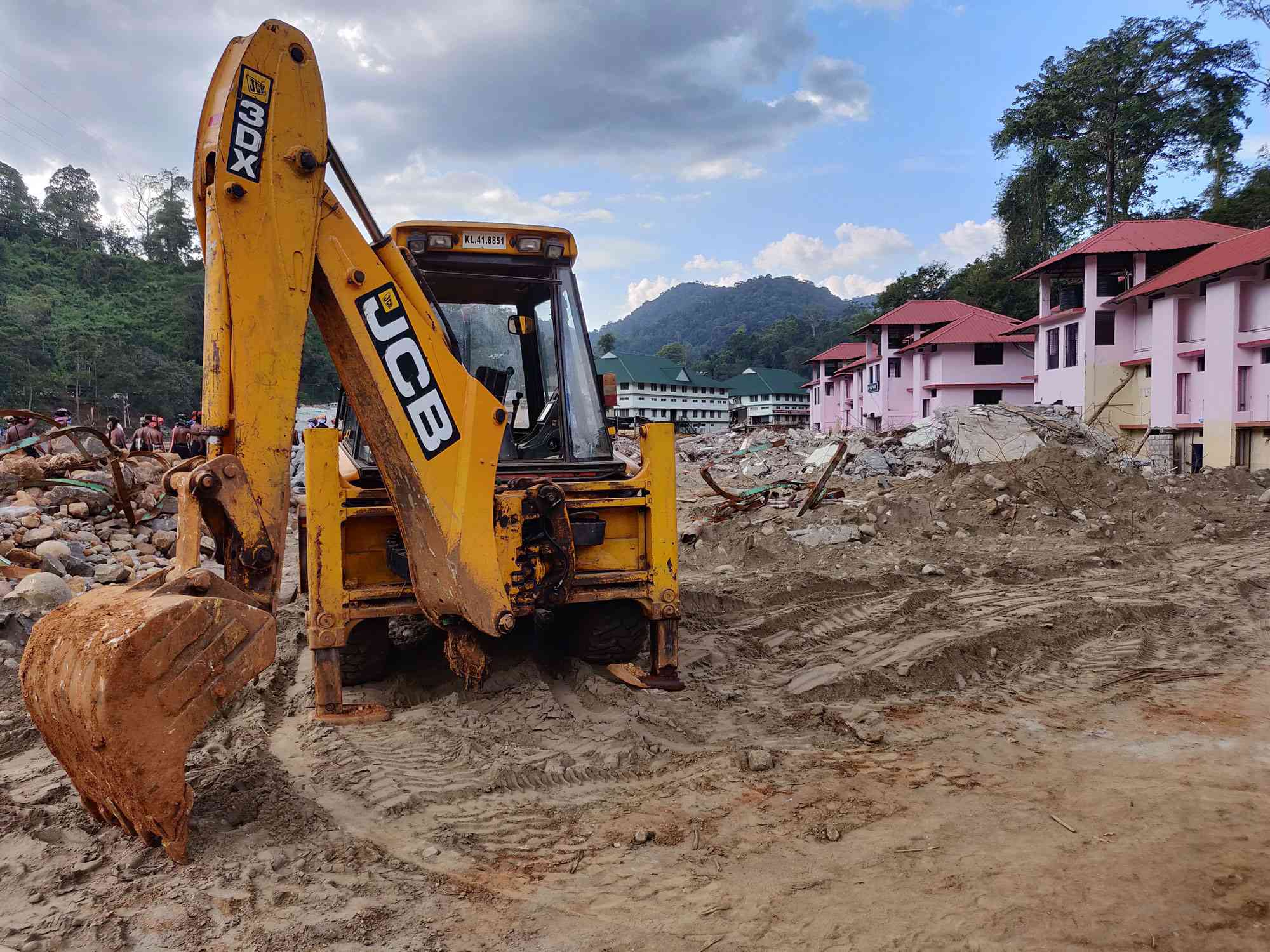 Three months after the floods, debris is still being cleared from the river bank. Photo credit: TA Ameerudheen
