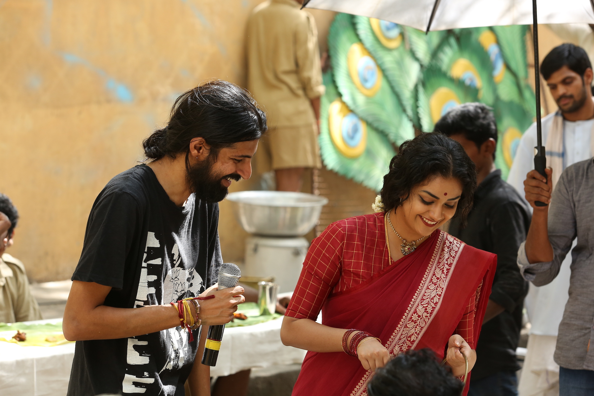 Nag Ashwin and Keerthy Suresh on the sets of Mahanati. Image credit: Vyjayanthi Movies.