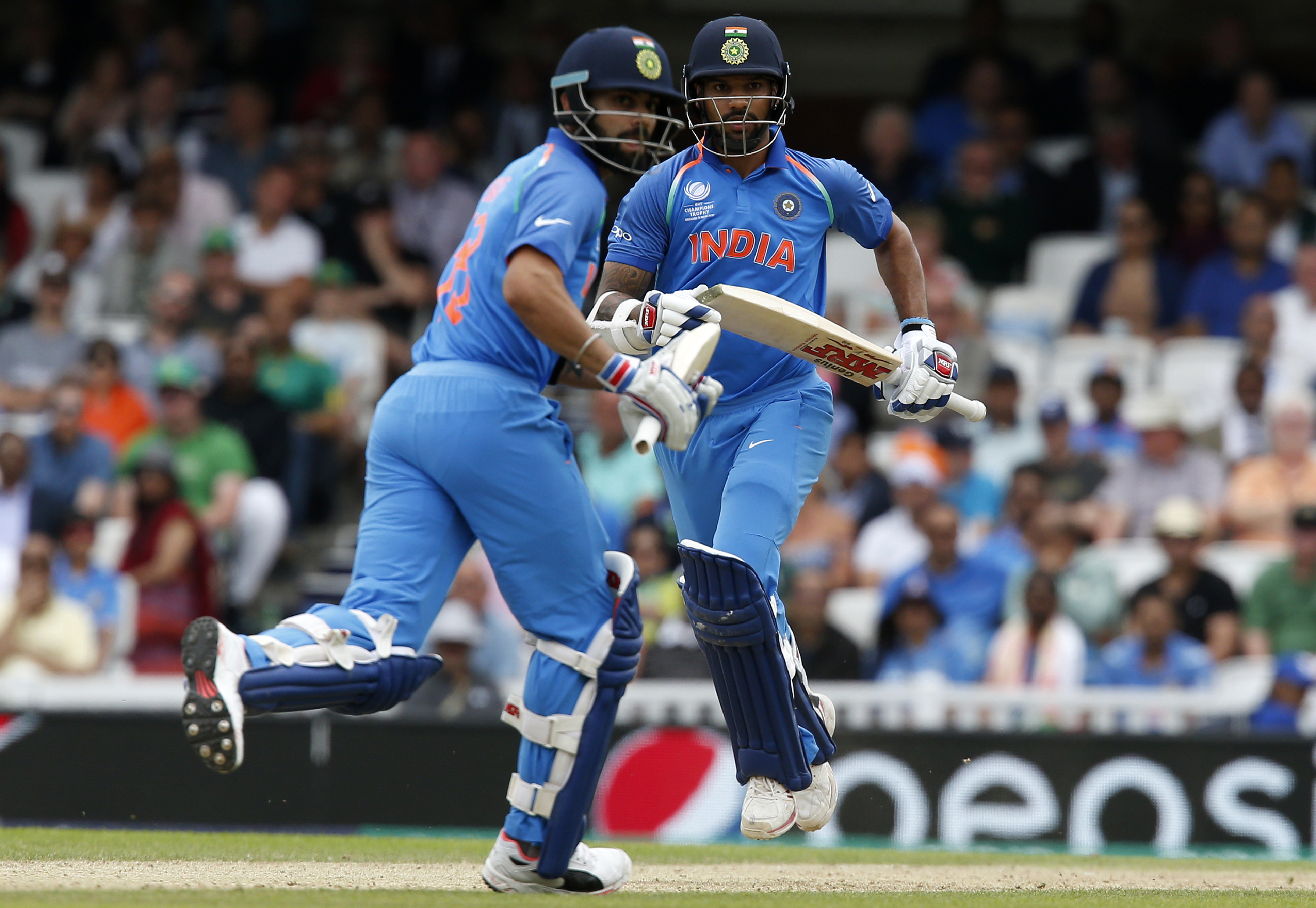 Shikhar Dhawan and Virat Kohli have scored over 75 runs in their partnership for the second wicket. Photo: AFP