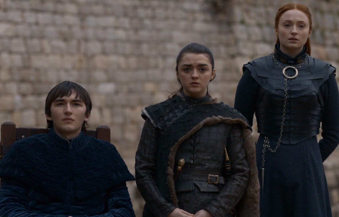 (L-R) Bran Stark (Isaac Hempstead Wright), Arya Stark (Maisie Williams) and Sansa Stark (Sophie Turner) in Game of Thrones. Courtesy of HBO.