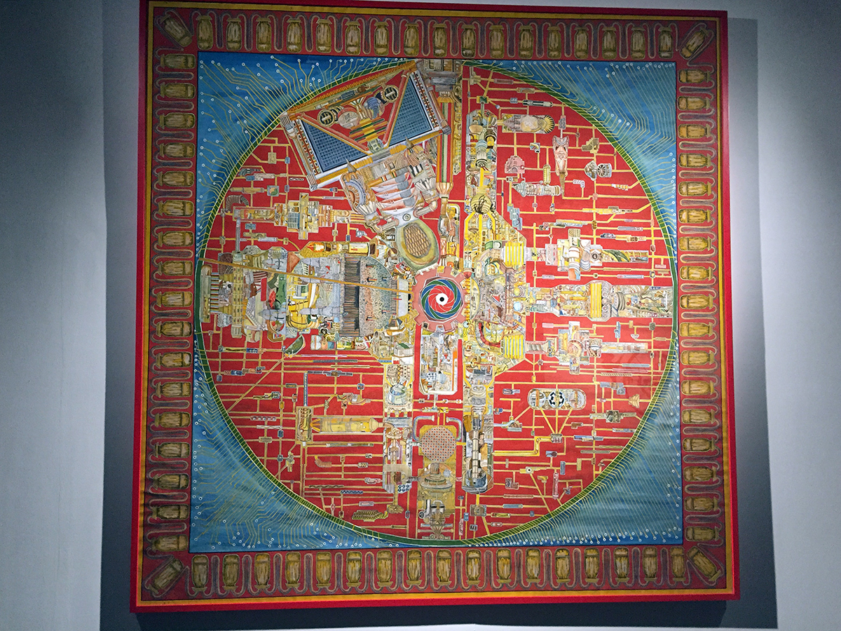 This Patachitra work by Bhikari Moharana is hand-painted using mineral pigments in the traditional way. Yet the theme and look of the artwork are contemporary. Visitors to the show are encouraged to look for the man hidden in the design. (Hint: He's in the upper, left quadrant).  Photo credit: Chanpreet Khurana