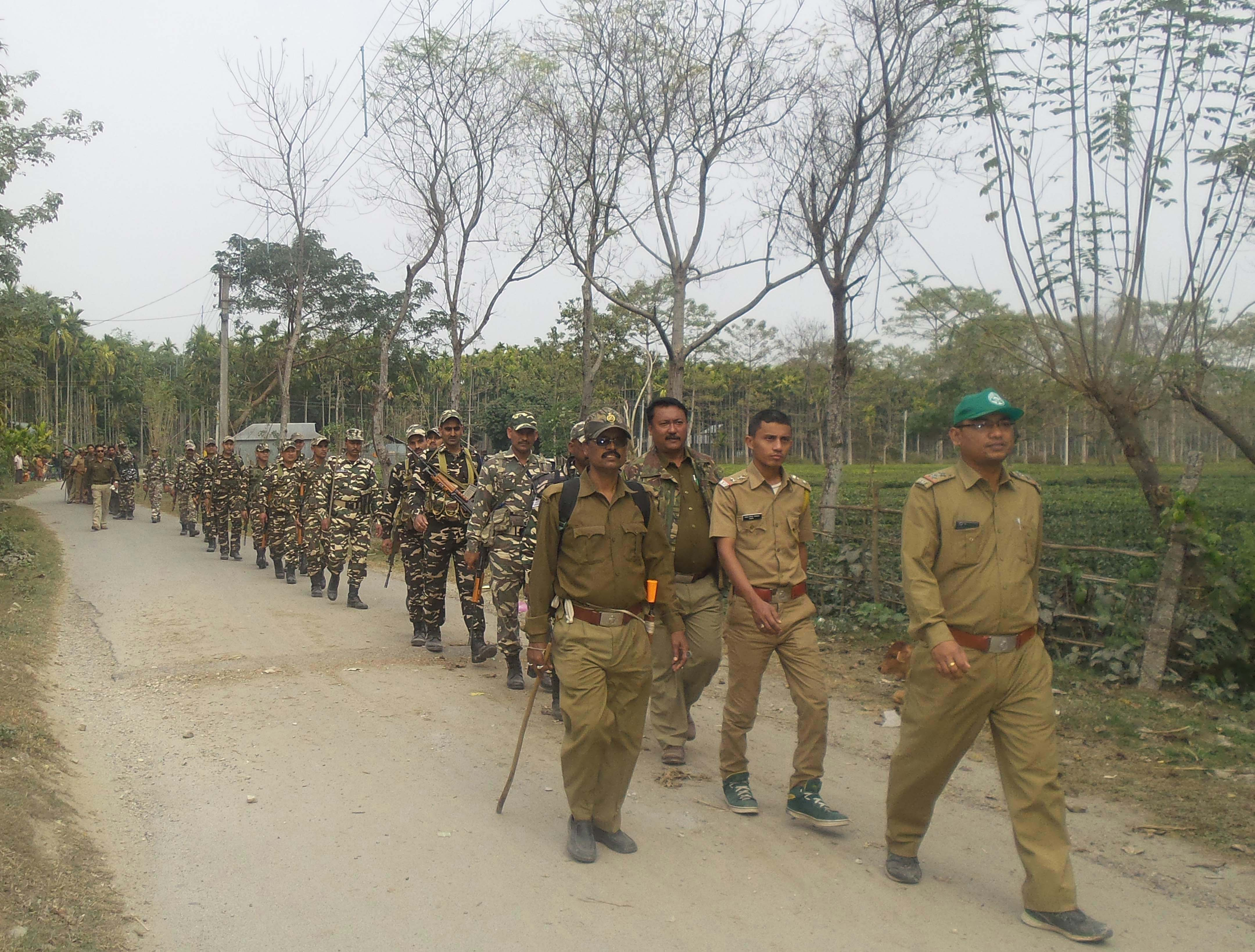 "An ""Area Dominance March"" conducted by police, forest and border forces. Photo Credit: Jaldapara ADFO office"