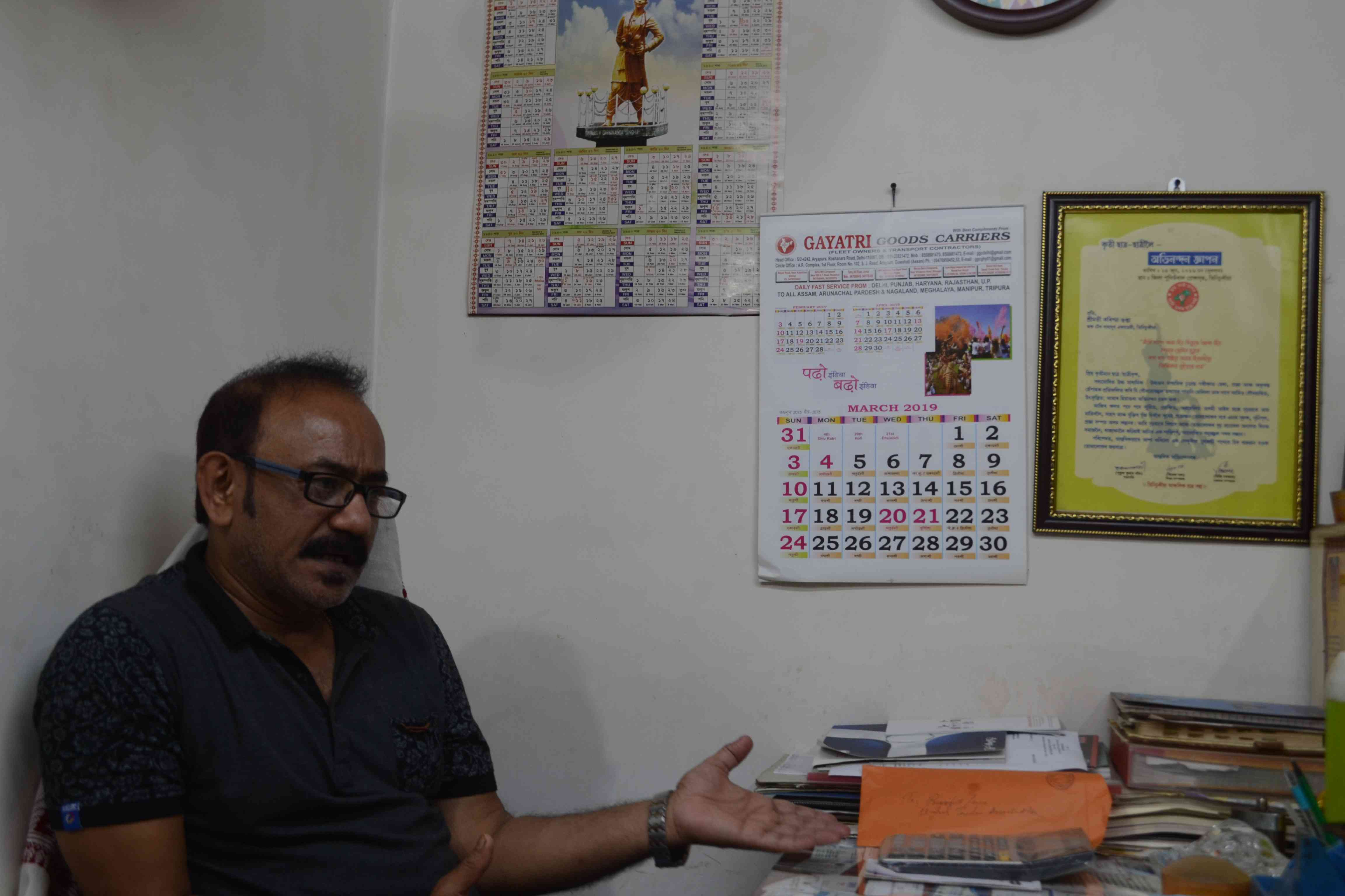 Dilip Gupta is a retailer in Tinsukia. Photo credit: Anupam Chakravartty