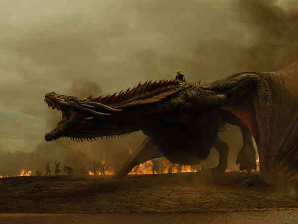 Daenerys Targaryen (Emilia Clarke) and her dragon Drogon in Game of Thrones. Courtesy HBO.