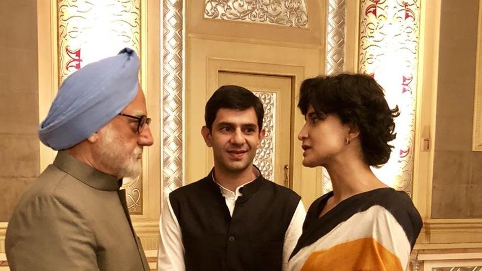 Anupam Kher, Arjun Mathur and Aahana Kumra in The Accidental Prime Minister. Courtesy Bohra Bros.